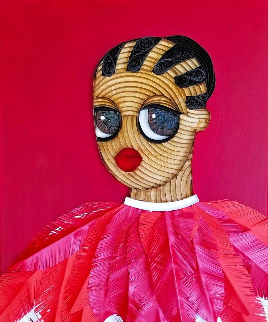Title: Ayelala Confessinal I Dimension: 51 x 41 cm Medium: Mixed Media (Paper and acrylic on canvas) Year: 2019